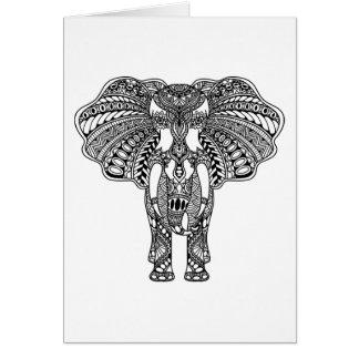Henna Mehndi Decorated Indian Elephant Card