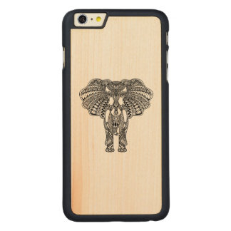 Henna Mehndi Decorated Indian Elephant Carved Maple iPhone 6 Plus Case