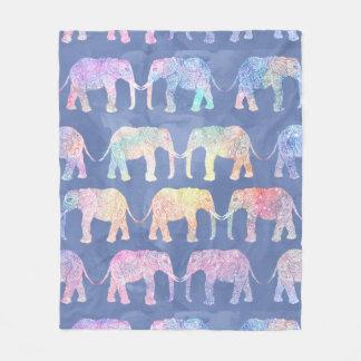 Henna paisley elephants pattern blue watercolor fleece blanket