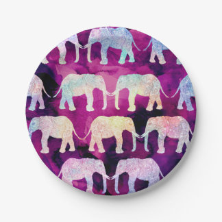 Henna paisley elephants pattern purple watercolor paper plate