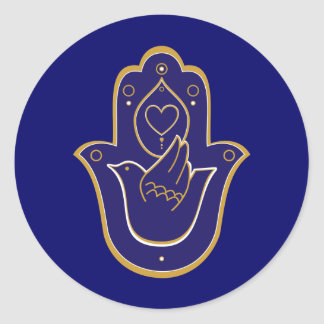 Henna Peace & Love Hamsa Blue Round Sticker