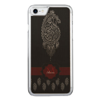 Henna Peacock (Silver) Carved iPhone 7 Case