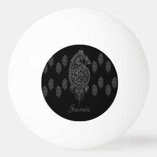 Henna Peacock (Silver) Ping-Pong Ball