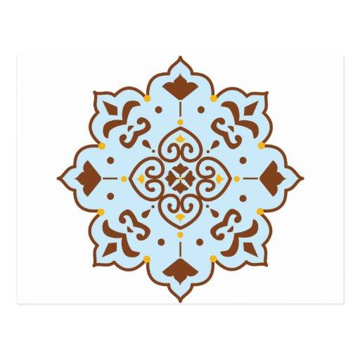 Henna Persian Rug Mandala Postcard