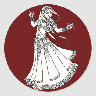 Henna Tribal Belly Dancer Classic Round Sticker