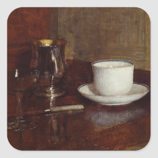 Henri Latour- Still Life Glass,Silver Goblet & Cup Square Sticker