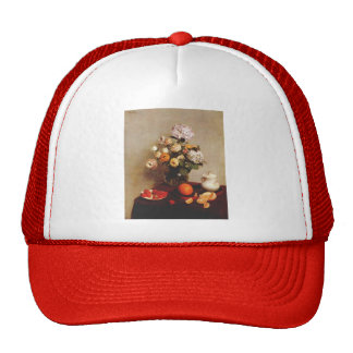 Henri Latour-Still Life,Vase Of Hydrangeas Trucker Hats