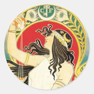 Henri Privat~Livemont ~ Art Nouveau Round Sticker