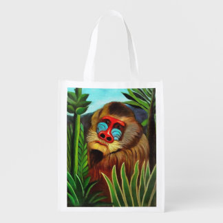 Henri Rousseau Mandrill In The Jungle Vintage Art Grocery Bag