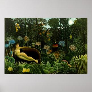 Henri Rousseau The Dream Jungle Flowers Painting Print