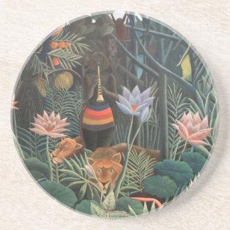 Henri Rousseau The Dream Jungle Flowers Surrealism Coaster