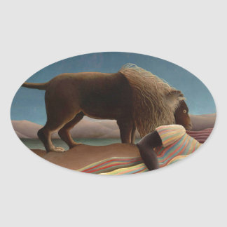 Henri Rousseau The Sleeping Gypsy Oval Sticker