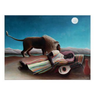 Henri Rousseau The Sleeping Gypsy Vintage Perfect Poster