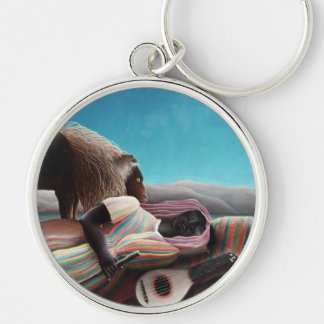 Henri Rousseau The Sleeping Gypsy Vintage Silver-Colored Round Keychain