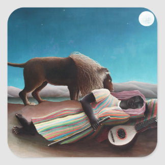 Henri Rousseau The Sleeping Gypsy Vintage Square Sticker
