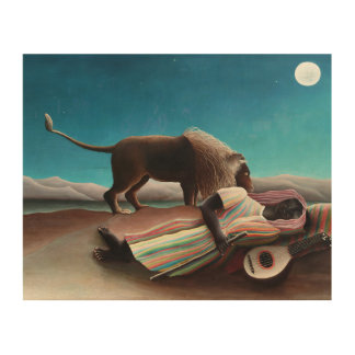 Henri Rousseau The Sleeping Gypsy Vintage Wood Wall Art