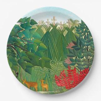 Henri Rousseau Waterfall Jungle Floral Paper Plate