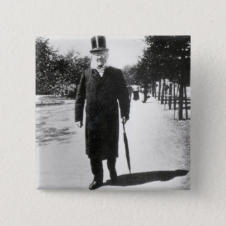Henrik Ibsen (1828-1906) in Oslo, 1896 (b/w photo) 2 Inch Square Button
