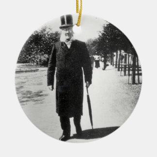 Henrik Ibsen (1828-1906) in Oslo, 1896 (b/w photo) Round Ceramic Ornament