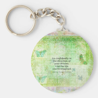 Henry David Thoreau Dream Quote with nature theme Keychain