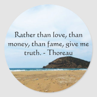 Henry David Thoreau inspirational TRUTH Quote Classic Round Sticker