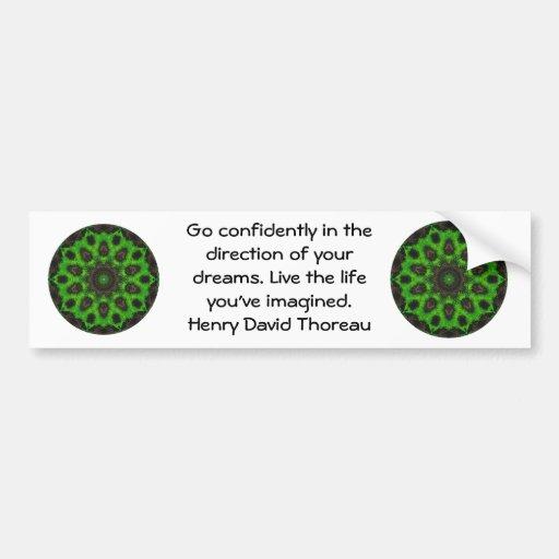 Henry David Thoreau Motivational Dream Quotation Bumper Sticker