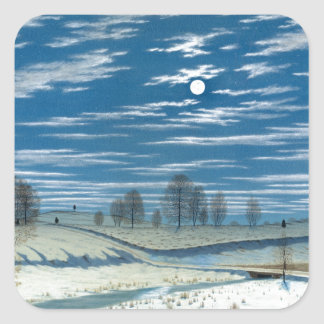 Henry Farrer Winter Scene in Moonlight Square Sticker