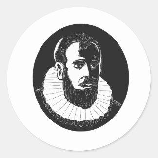 Henry Hudson Explorer Woodcut Classic Round Sticker