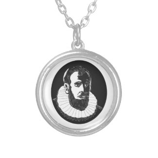 Henry Hudson Explorer Woodcut Silver Plated Necklace