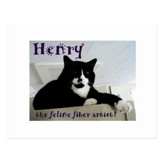 Henry the Feline Fiber Artist Post Card