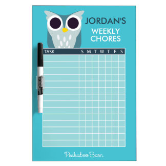 Henry the Owl Chore Chart Dry-Erase Whiteboard