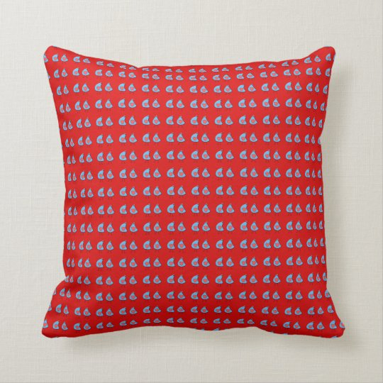 Hens on red background throw pillow