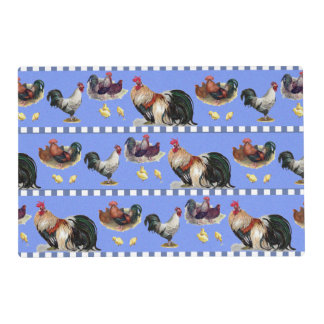 Hens, Roosters, and Chicks Laminated Place Mat