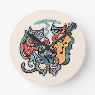 Hep Cat Band Round Clock