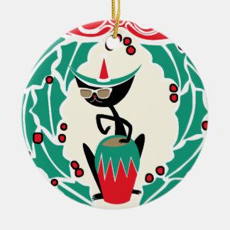 Hep Cat Retro Christmas (Personalized) Round Ceramic Ornament