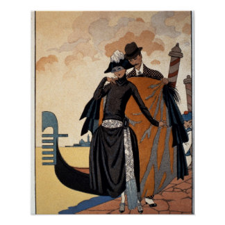 Her and Him, Fashion Illustration, 1921 (pochoir p Poster