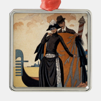 Her and Him, Fashion Illustration, 1921 (pochoir p Silver-Colored Square Ornament