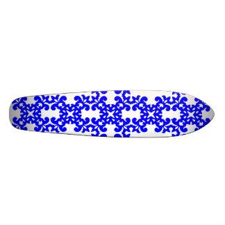 Her Cute Girly Style Blue White Damask Girls Skate Deck