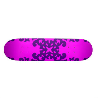 Her Cute Girly Style Purple on Pink Damask Girls Custom Skateboard