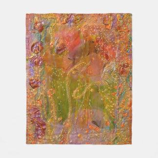 Her Garden Pink Floral Fairy Art by Deprise Fleece Blanket