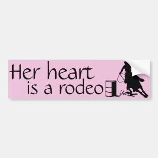 Her heart is a Rodeo Barrel Racing Horse Bumper Sticker