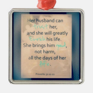 Her husband Silver-Colored square ornament