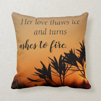 Her Love Romantic Sunset Poetry Throw Pillow