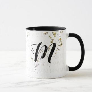 her monogrammed name / monogram b/w mug