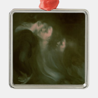 Her Mother's Kiss, 1890s Silver-Colored Square Ornament