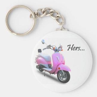 Her Scooter Basic Round Button Keychain