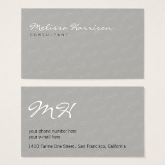 her unique attractive modern professional gray business card