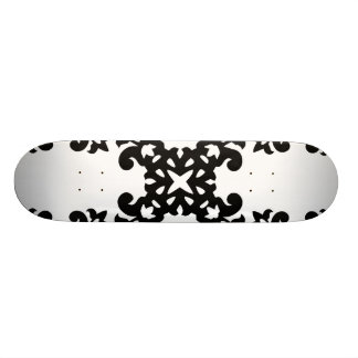 Her Vintage Girly Style Black & White Damask Girls Skate Board Deck
