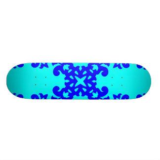 Her Vintage Girly Style Blue & Cyan Damask 4 Girls Skateboard Deck