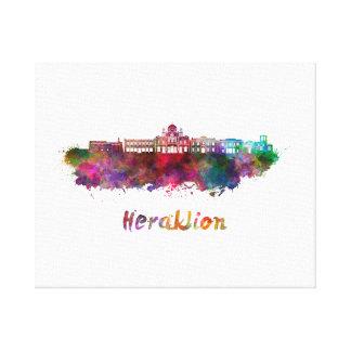 Heraklion skyline in watercolor canvas print